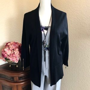 Carmen Marc Valvo Shawl Collar Open Cardigan
